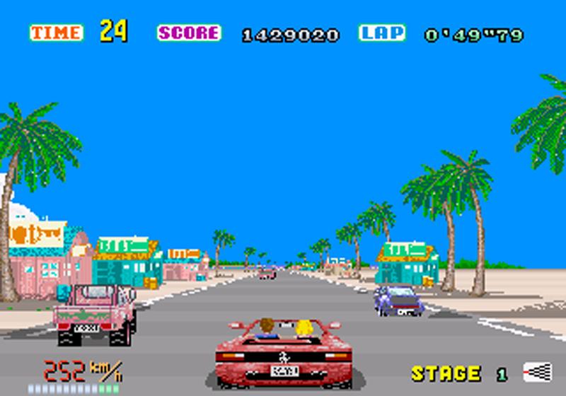 Le timer, le score, la nécessité de connaitre le jeu par coeur, OutRun est un parfait exemple du modèle Arcade