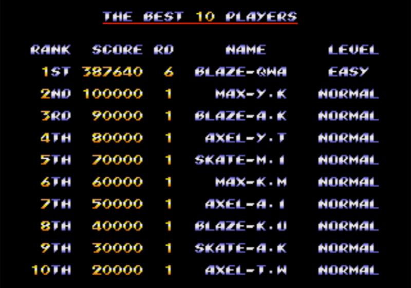 Streets of Rage 2 n'est jamais sorti en Arcade, pourtant le jeu possède un système de classement basé sur le score